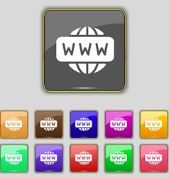 WWW icon sign Set with eleven colored buttons for vector