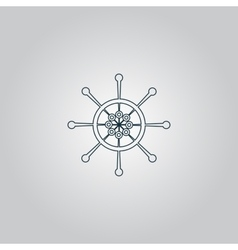Yacht wheel symbol Helm silhouette vector image