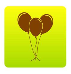balloons set sign brown icon at green vector image