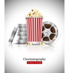 cinema films and popcorn vector image vector image