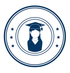 circular emblem with woman with graduation outfit vector image vector image