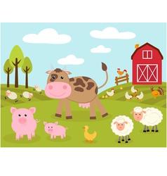 Cute little farm vector image vector image