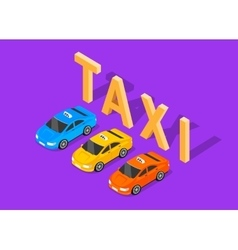 Flat 3d Isometric Car Taxi vector image vector image