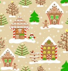 Seamless christmas pattern lovely xmas town vector