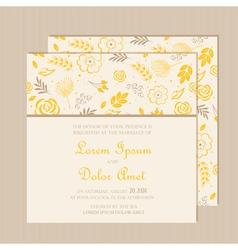 Wedding invitation card yellow vector