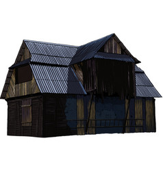 Abandoned wooden house vector