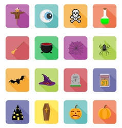 halloween flat icons 20 vector image vector image