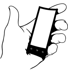 Hand holding flexible phone vector image vector image