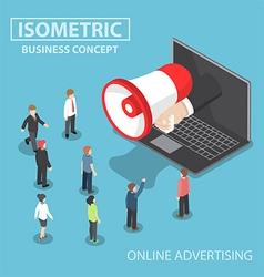 Isometric businessman hand with loudspeaker sticki vector image vector image