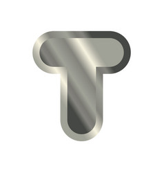 letter t steel font metal alphabet sign iron abc vector image vector image