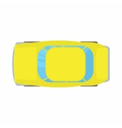 Yellow car top view icon cartoon style vector image