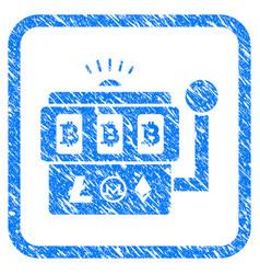 bitcoin gambling machine framed grunge icon vector image