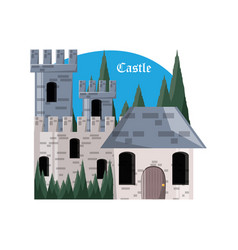 castle and pine trees design vector image