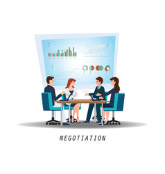 group of business partners negotiating at meeting vector image vector image