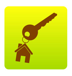 key with keychain as an house sign brown vector image