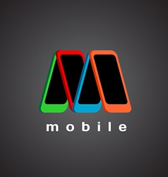 M letter logo template Mobile devices store vector image vector image