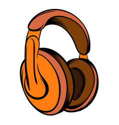 orange headphones icon cartoon vector image