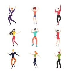 Set of dancing people in flat style vector image vector image