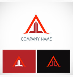triangle line building company logo vector image vector image