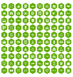 100 private property icons hexagon green vector image