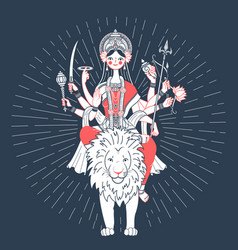 icon of goddess durga a lion vector image vector image
