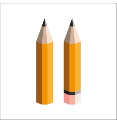 pencils with eraser on a white background vector image vector image