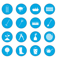 16 garden plain icon blue vector