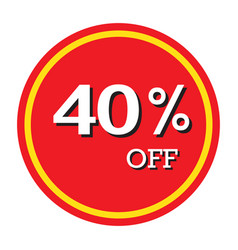 40 off discount price tag isolated vector