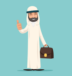 arab smile thumb up like businessman character vector image
