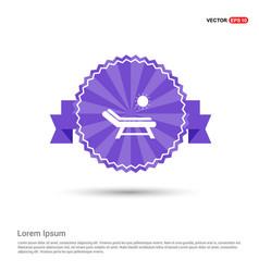 Beach bed icon - purple ribbon banner vector