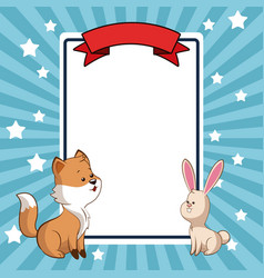 beauty fox and rabbit card decoration vector image