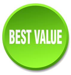 Best value green round flat isolated push button vector