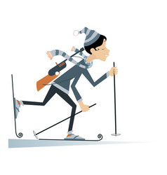 biathlon competitor young woman isolated vector image