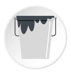 Bitumen emulsion in grey bucket icon circle vector