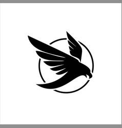 Black abstract circle bird logo vector