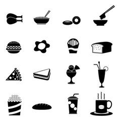 Black fast food icon vector