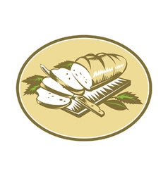 Bread Loaf With Knife and Board Woodcut vector