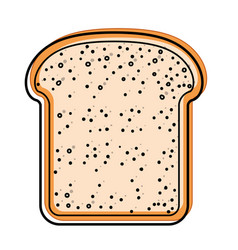 Bread slice in watercolor silhouette on white vector