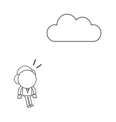 Businessman character surprised and looking cloud vector