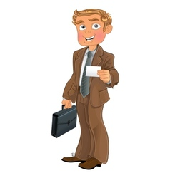 Businessman in brown suit with business card vector