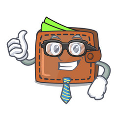 businessman wallet character cartoon style vector image