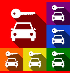car key simplistic sign set of icons with vector image