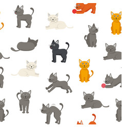 cartoon characters tabby cat seamless pattern vector image