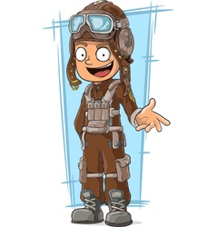 Cartoon retro pilot in leather vector