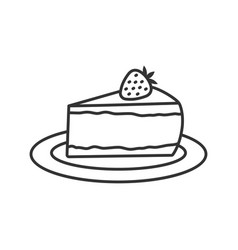 Cheesecake with strawberry linear icon vector