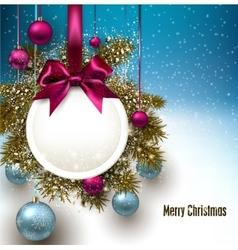 Christmas gift card with ribbon and Christmas vector image
