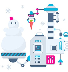 Christmas of the machines that make a snowma vector