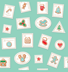 christmas postage stamps seamless background vector image
