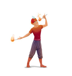 Circus fire eater or fakir character vector