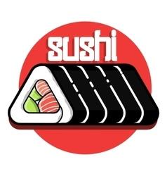 Color vintage sushi emblem vector